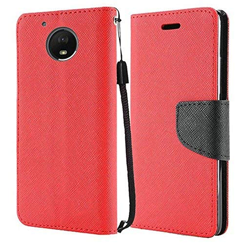 (Motorola Moto G5 Plus case, Luckiefind Premium PU Leather Flip Wallet Credit Card Cover Case, Stylus Pen, Screen Protector Accessories (Wallet Red))