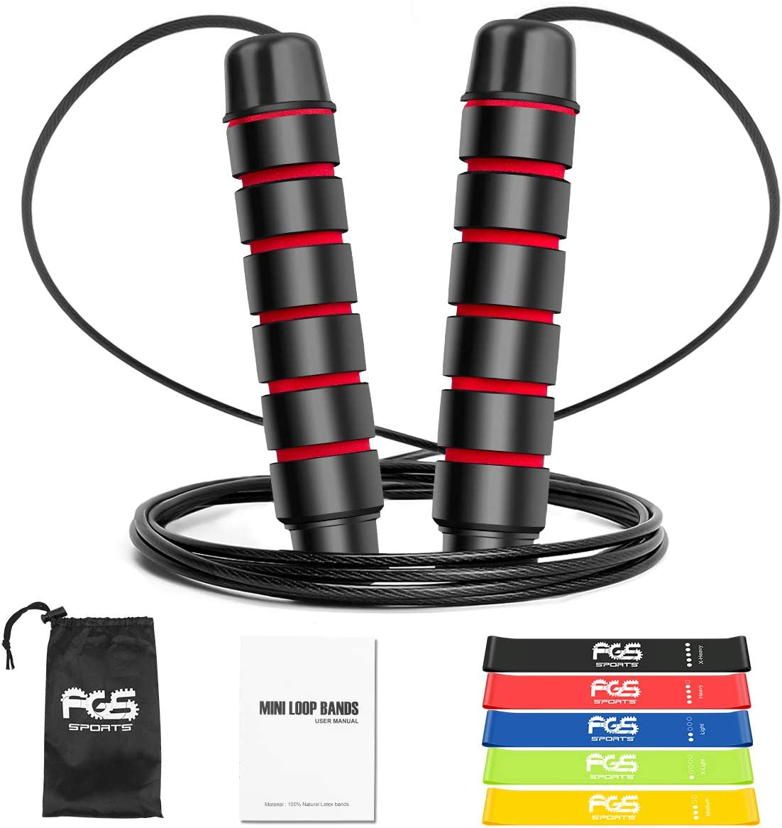 FG5 Jump Rope Fitness Skipping Rope /& Natural Latex Resistance Exercise Bands for Health,Home Fitness Strength Training Stretching Physical Therapy