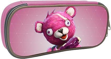 Estuche para lápices, diseño de oso rosa Fortnite 3D impreso a la moda, gran capacidad, organizador de escritorio con cremallera para la escuela y suministros de oficina -2159 cm: Amazon.es: Oficina y