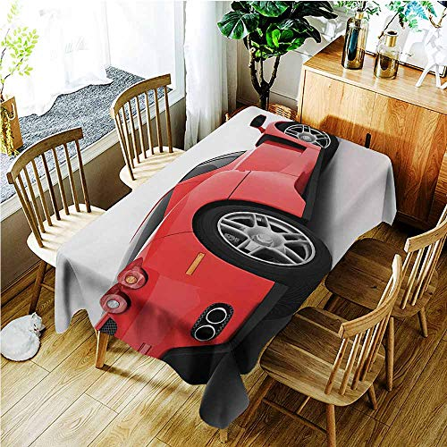 TT.HOME Resistant Table Cover,Manly Red Super Sports Car Lifestyle Automobile Transport Modern Urban City Life Theme,Fashions Rectangular,W60X102L,Red White ()