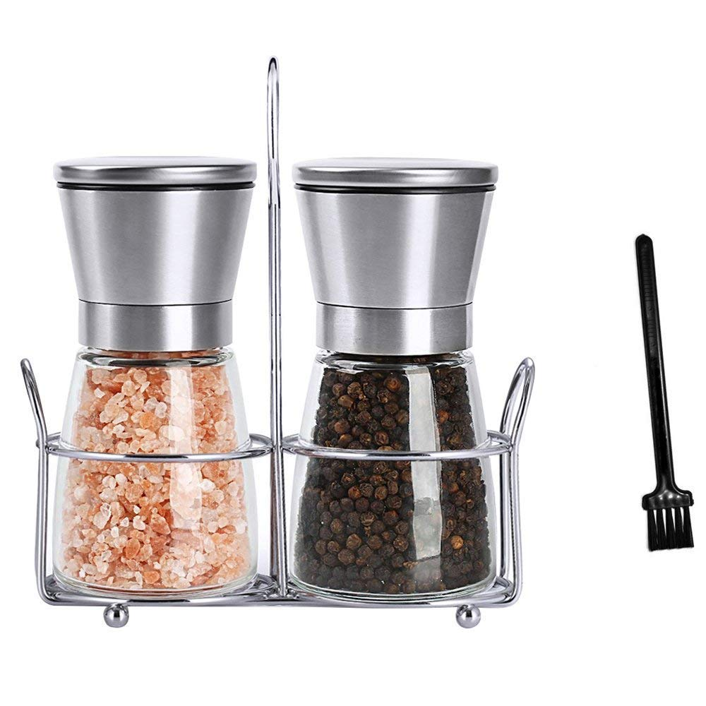 Salt and Pepper Grinder Set, HIPPIH 2 Pack Salt and Pepper Shakers, Stainless Steel Spice Grinder Mill for Adjustable Coarseness with Stand and Brush