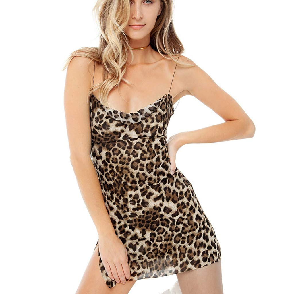Women Leopard Print Vest Dress,Mosunx Ladies Fashion Sexy Sling Slim Fit Wrapped Chest Dresses (S, Yellow)
