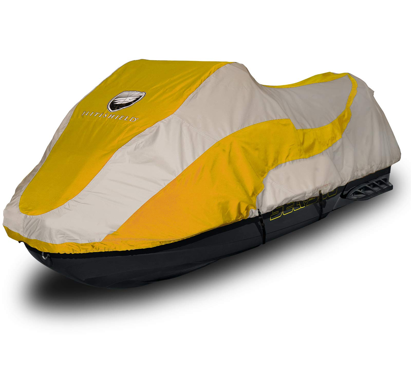 EliteShield Trailerable PWC Watercraft Jet Ski Cover Jet Ski Cover Fits from 136''-145''(3 Seater) Two Tone Yellow/Grey