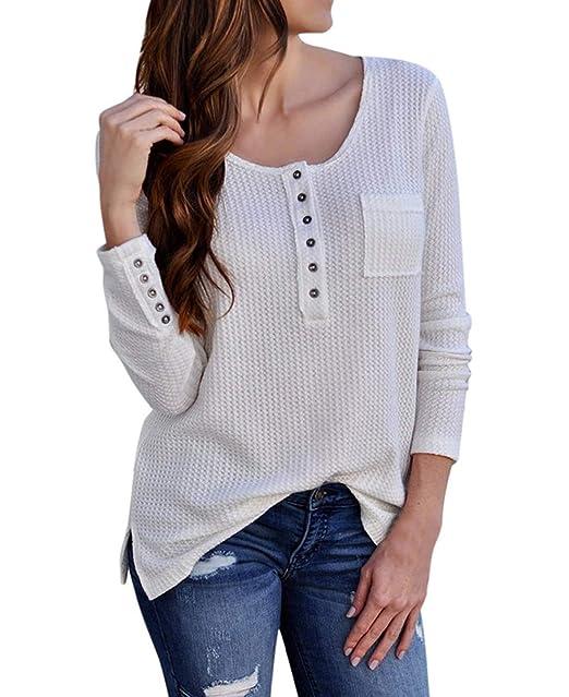 JackenLOVE Primavera y Otoño Mujeres Tops Moda Pulóver T-Shirt Blusa  Sudaderas Casual Cuello Redondo 52d3575d2ac0