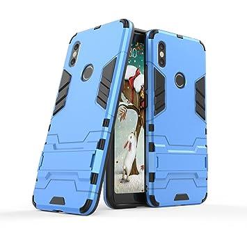 Max Power Digital Funda Carcasa Xiaomi Redmi S2 Tipo Hybrid Iron Man Antigolpes Híbrida Armadura Robusta con Pata Trasera (Azul)
