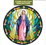 Our Lady of Grace Window Decal, Reusable Vinyl Suncatcher, Stained Glass Design