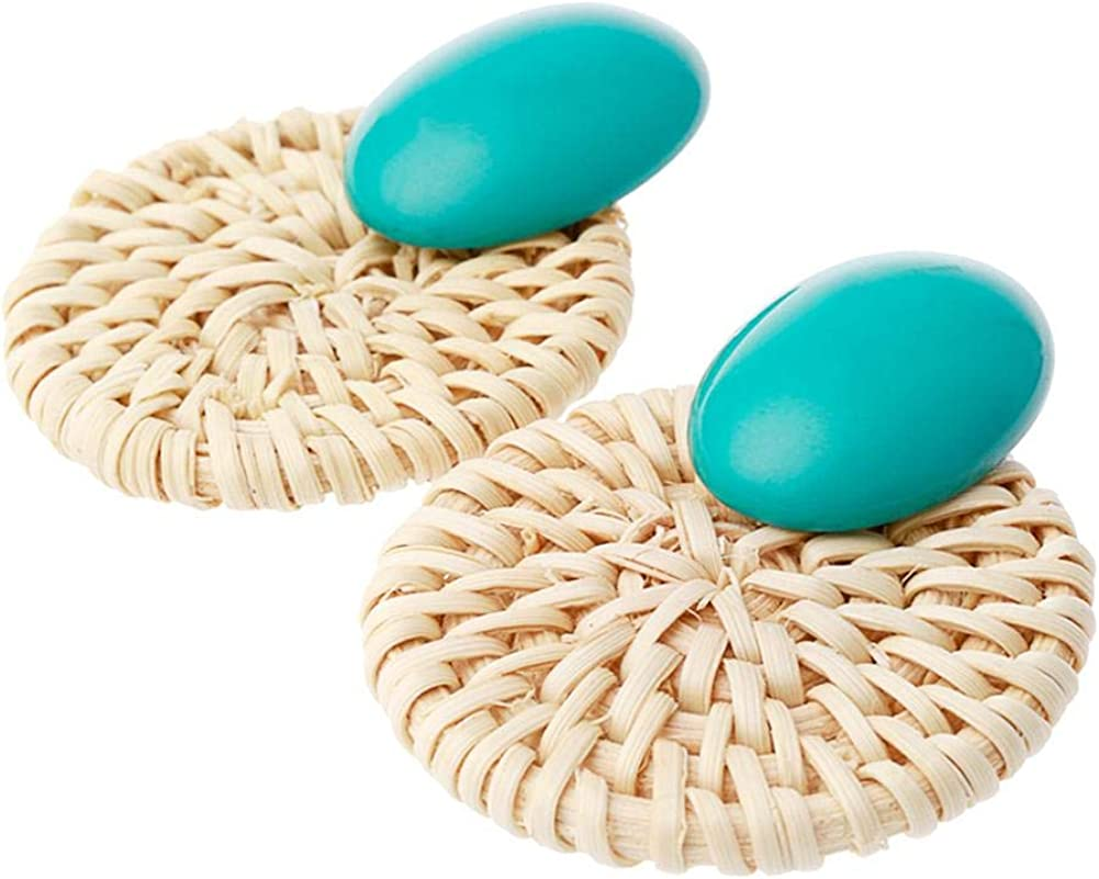 Diamondo Fashion Women Rattan Geometric Stud Earrings Jewelry Casual Decoration Gift