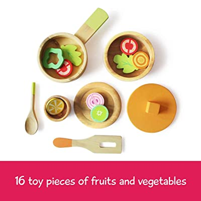 shumee Wooden Toys- Lil Chef's Wooden Cooking Set (Age 3+) |16 Piece Toy Set: Toys & Games