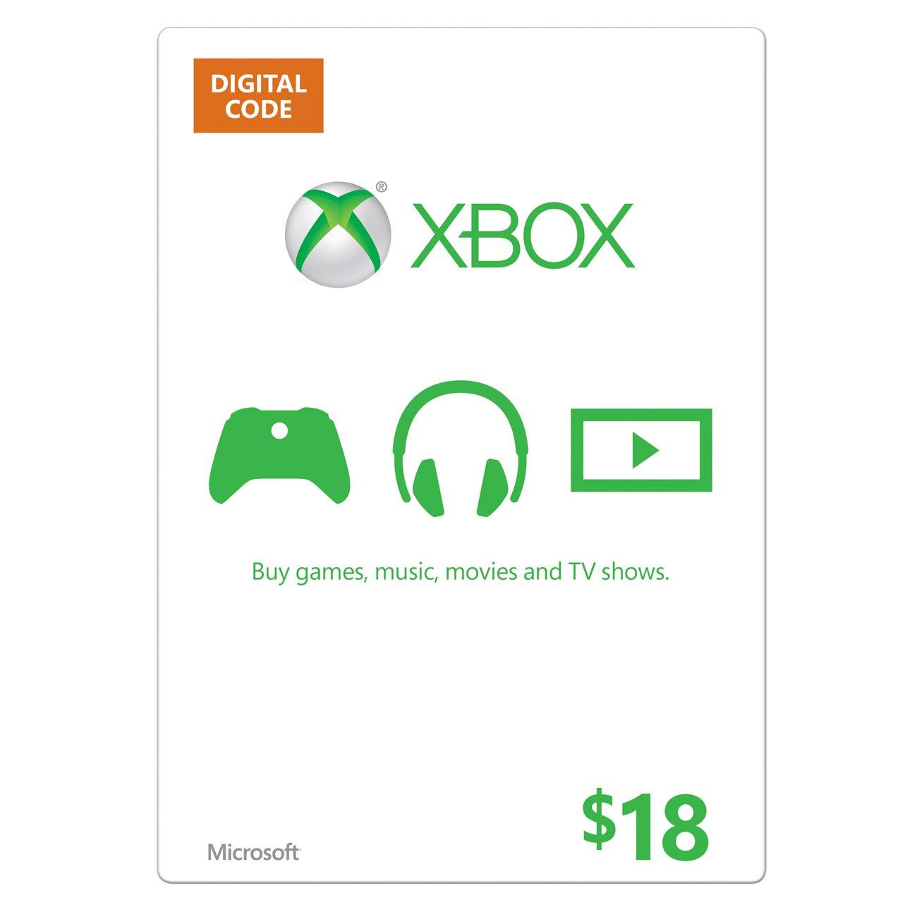 Amazon.com: Xbox Live $18 Gift Card - Xbox 360 Digital Code ...