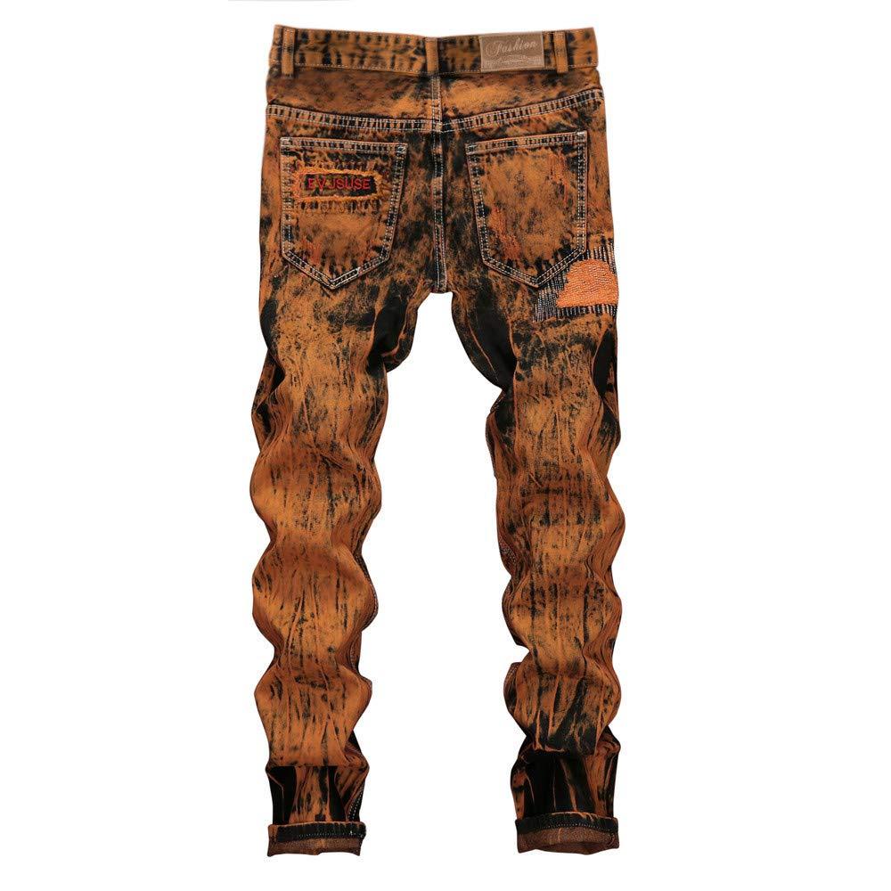 Cinhent Pants Autumn Jeans Hole Ripped Denim Folds Men Work Frayed Trousers