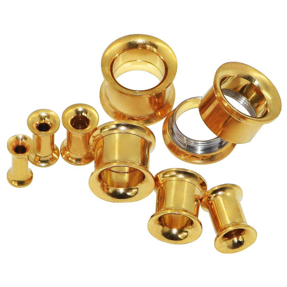 D& M Jewelry 14pcs 8G-1/2 Multi-Colours Stainless Steel Hollow Screw Ear Tunnels Expander Kit Qianmin Co.Ltd DMINCA0401402