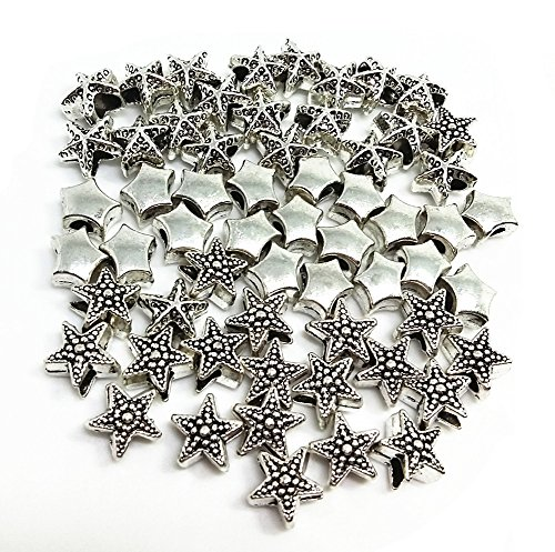 QTMY 60 PCS 5mm Hole Macroporous Mixed Stars Starfish Spacer Beads for Jewelry Making Supplies in Bulk