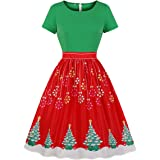 Wellwits Women's Red and Green Snowflake Xmas Tree Vintage Christmas Dress