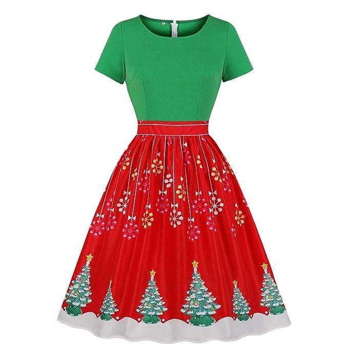Amazon.com: Wellwits vestido de Navidad vintage con copo de ...