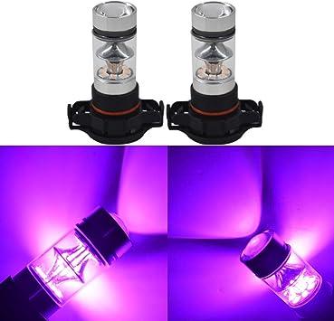 2 Pcs H8 H9 H11 H16 W16W 64211 64212 14000K Purple 100W LED Headlight Bulbs Kit Fog Light