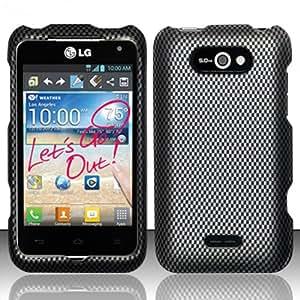 For LG Motion 4G MS770/P870 (MetroPCS) Rubberized Design Cover - Carbon Fiber