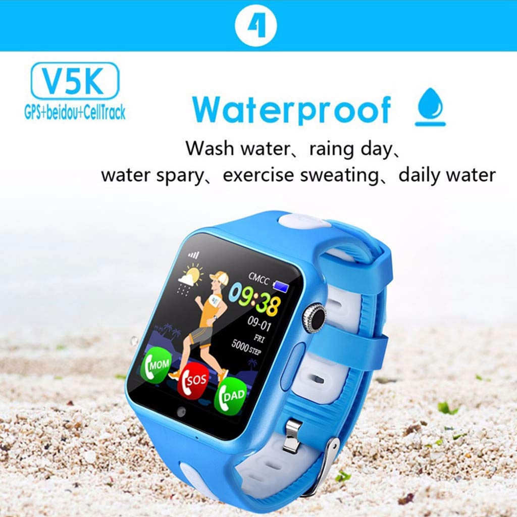 SGYH GPS Watch Phone for Kids, HD Color Screen Smartwatch Voice Smart Watches Safety Anti-Lost Waterproof Tracker for Children Girls Boys Phone Watch for Android iOS (Black+Green) by SGYH (Image #3)