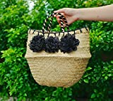 Black Flower Poms All Natural Hand Woven Dried Seagrass Belly Tote Basket, Seagrass Beach Handbag