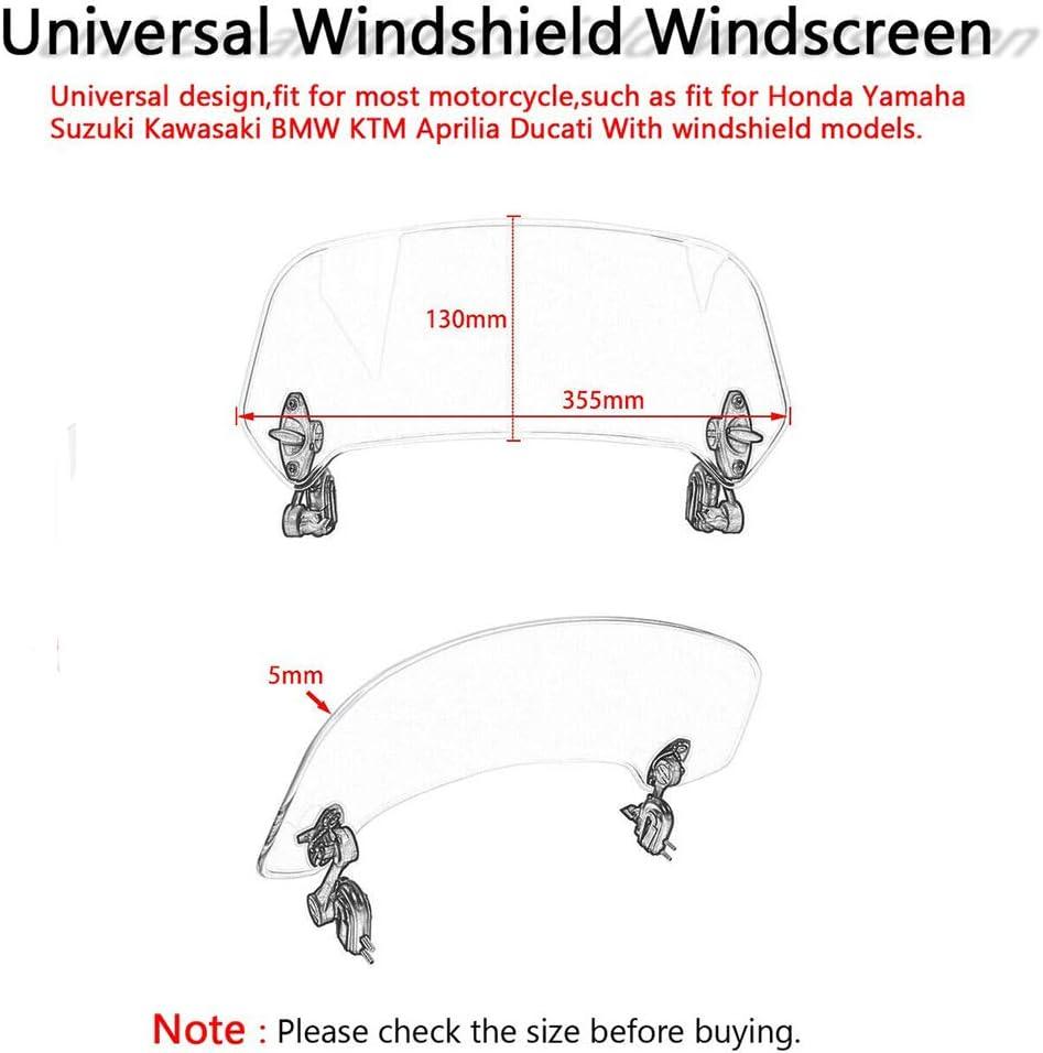 FATExpress Motorcycle Universal Clip On Windshield Windscreen Extension Spoiler Wind Deflector Protection for Honda Suzuki Yamaha BMW Kawasaki