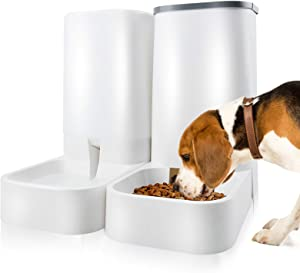 Automatic Pet Feeders and Water Dispenser Self Dispensing Gravity Feeder - Dog Food and Water Dispenser Set - Auto Multiple Cat Feeder Food Bowl Suitable for Large Medium Pet or Puppy Kitten
