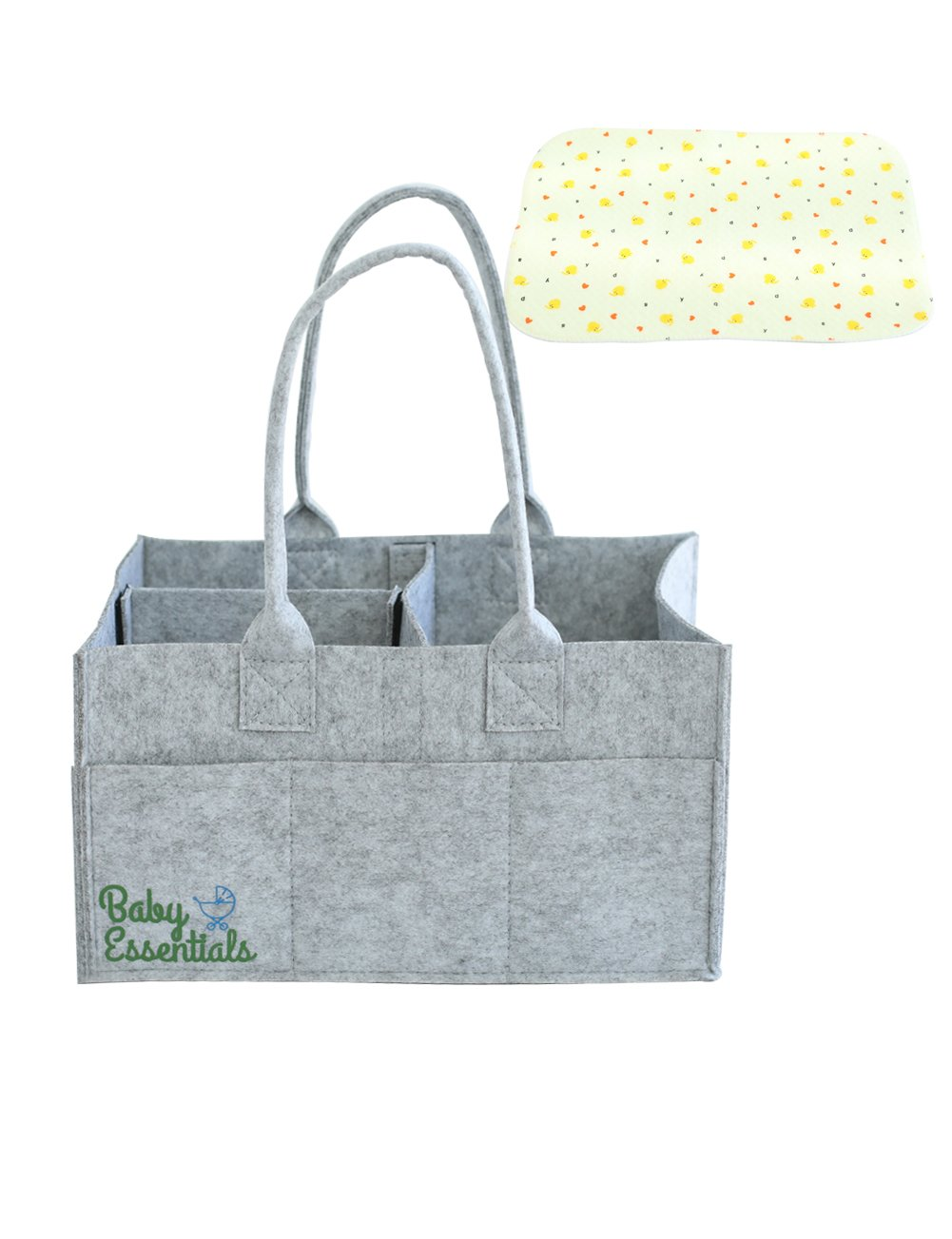 Baby Essentials Diaper Caddy - Nursery Storage Bin and Car Organizer for Diapers and Baby Wipes + FREE Changing Pad