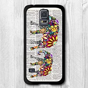Floral Elephant Mon & Son Lovely Protective Cover For Samsung Galaxy S5 i9600 High Quality Phone Case + Screen Protector + Earphone Anti Dust Plug Cap + Retail Package