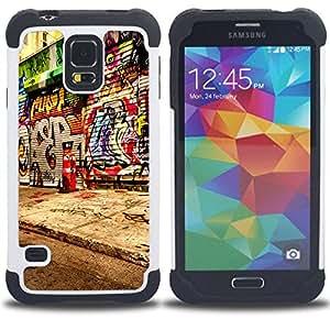 For Samsung Galaxy S5 I9600 G9009 G9008V - Graffiti Street Art Spray Paint Artist City /[Hybrid 3 en 1 Impacto resistente a prueba de golpes de protecci????n] de silicona y pl????stico Def/ - Super Marle