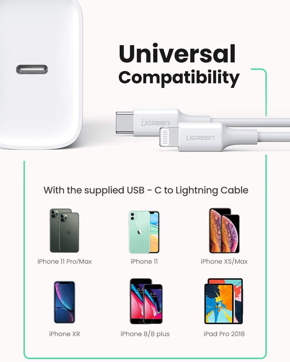 iPad Pro iPhone SE 11 Pro Max Xs Max XR X 8 Plus UGREEN USB C Charger 18W PD Fast Charger with 3FT C to Lightning Cable Type C Wall Charger for AirPods Pro MFi Certified
