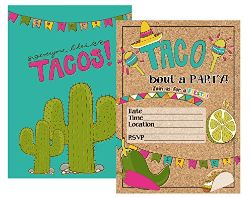 Silly Goose Gifts Fiesta Taco Party Suppy Invitations with Envelopes (Set of 12)