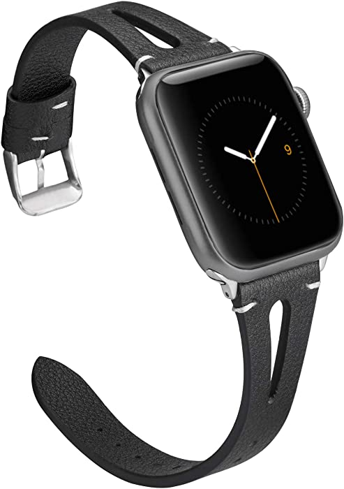 Wearlizer Black Leather Compatible with Apple Watch Bands 38mm 40mm for iWatch SE Womens Mens Special Straps Triangle Hole Wristband Bracelet (Metal Silver Buckle) Series 6 5 4 3 2 1 Sports