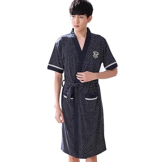 Flaydigo Mens Short Sleeve Knitted Cotton Bath Robe Dressing Gown ...