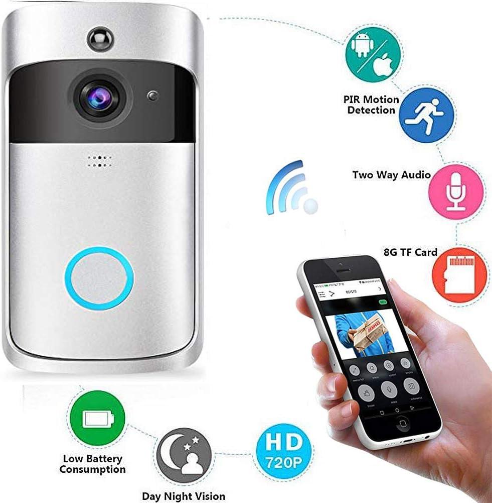 Doorbell 720P HD WiFi Cam/éra de surveillance in 32/G m/émoire vision nocturne en temps r/éel et conversation /à deux voies Video Sonnette de porte D/étectio avec glockenspiel et batterie de surveillance vid/éo