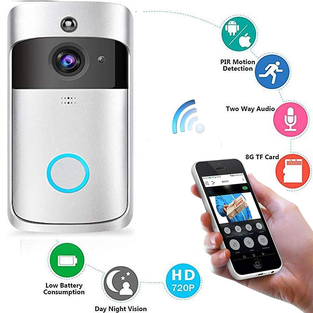 KOBWA WLAN Intelligente Tü rklingel, Video Tü rsprechanlage Gegensprechanlage Touchscreen ü berwachen Fernbedienung Tü rö ffner und App, Aufnehmen, Schnappschuss, Bewegungserkennung, Nachtsicht