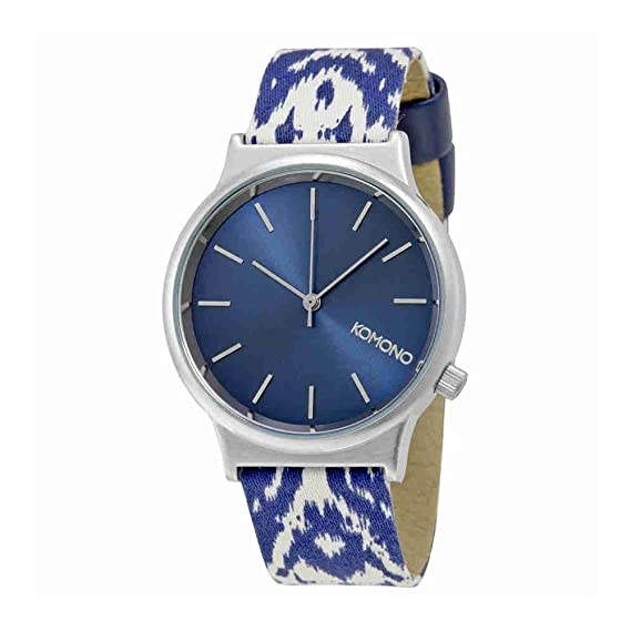 Wizard Komono Kom-w1835 Unisex con el texto en inglés de acero inoxidable para hombre diseño de impresión de piel esfera azul plateado Reloj: Amazon.es: ...