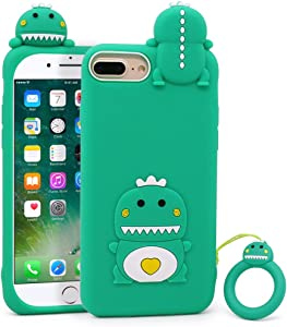 Megantree Cute iPhone 6 Plus Case, iPhone 6s Plus Case, iPhone 7 Plus Case, iPhone 8 Plus Case, Funny Animals Green Little Dinosaur 3D Cartoon Soft Silicone Shockproof Back Cover for Girls Boys Women