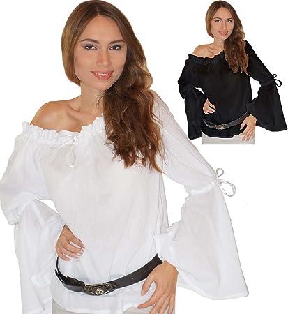 Blusa medieval Elena de algodón puro blanca
