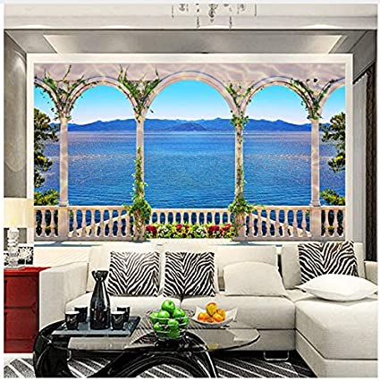 3d Mural Custom Wall Mural Wallpaper 3d Window Sea View Large Wall