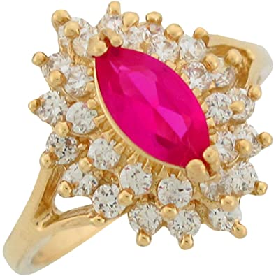 0c2e3c3f2e290c Amazon.com: 14k Yellow Gold Simulated Ruby White CZ July Ladies Birthstone  Ring: Jewelry