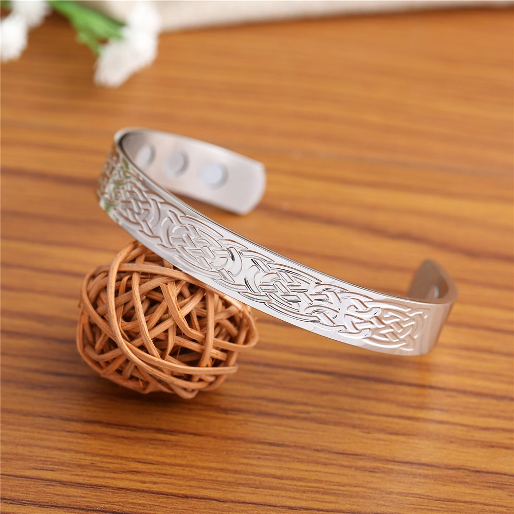 Lemegeton Stainless Steel Celtic Knot Bracelet Charming Amulet Jewelry for Men and Women