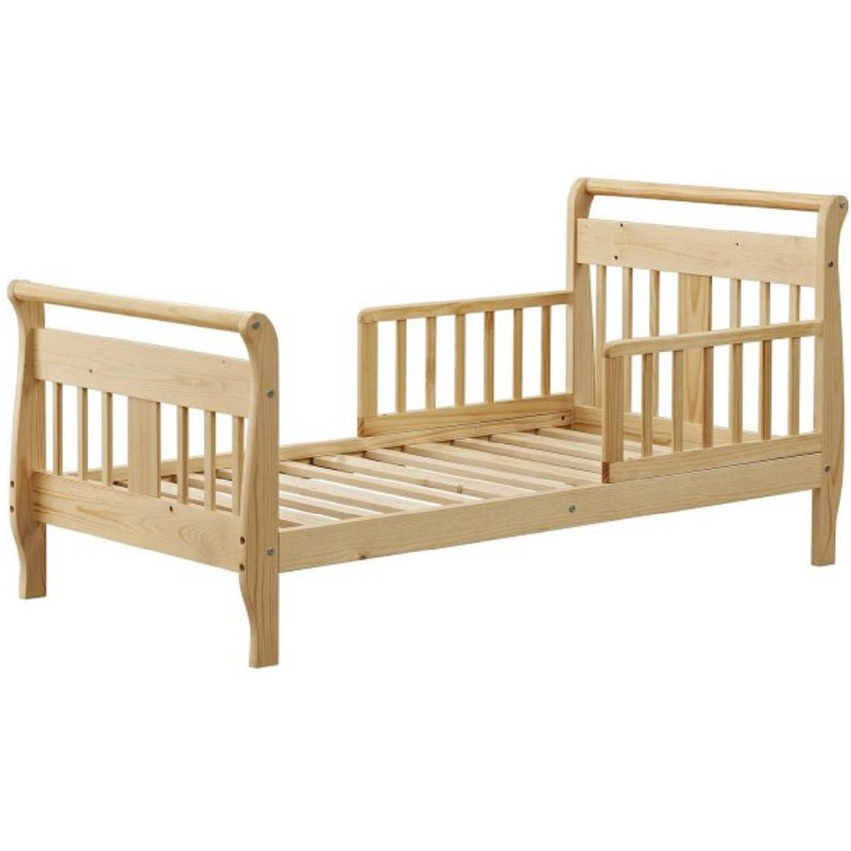 Natural Solid Hardwood Construction Sleigh-Style Design Baby Relax Sleigh Toddler Bed, Dimensions 56.50x28.78x28.25