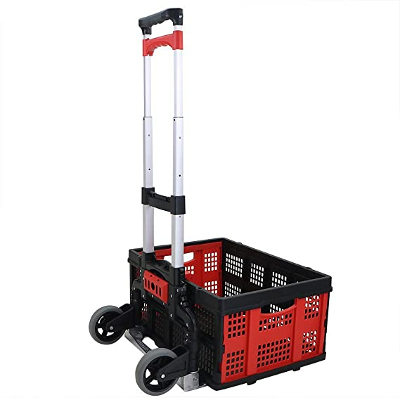 b4061fcbc4c0 Amazon.com: QIHANGCHEPIN Cart Aluminum Folding 2-wheel Hand Cart ...
