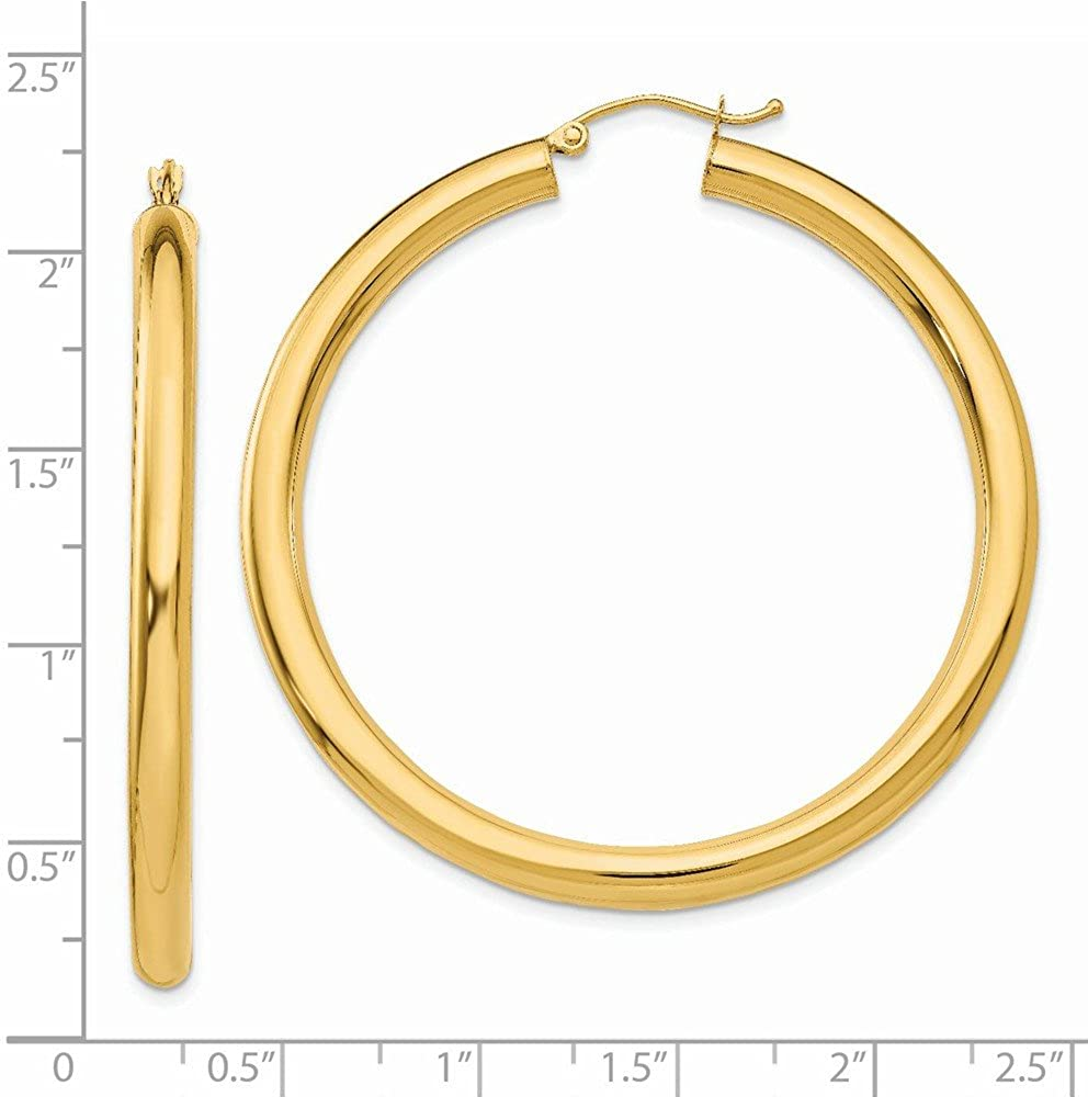 42x4mm 10k Yellow Gold Polished 4mm Tube Hoop Earrings Fine Jewelry Ideal Gifts For Women