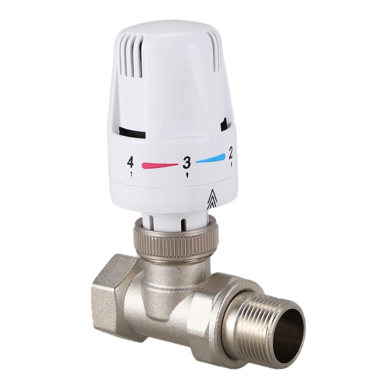 Domilay/V/áLvula de Radiador Termost/áTico de Lat/óN de 3//4 Pulgadas Tipo Recto DN20 V/áLvula de Control de Temperatura Autom/áTica Calefacci/óN de Piso