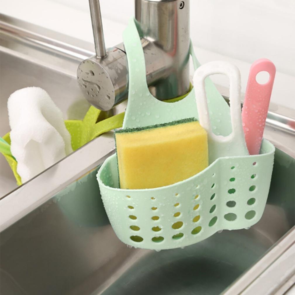 Baomabao Portable Home Kitchen Hanging Drain Bag Basket Bath Storage Tools Sink Holder (Green)