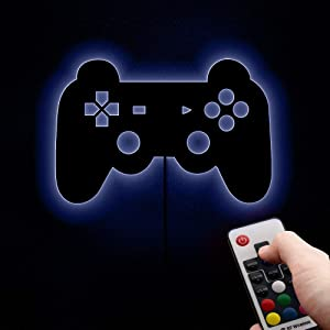 Gamepad Lighting Sign Retro Video Gamepad Silhouette Wall Art Illuminated LED Night Lamp Kid Room Game Boy Gift
