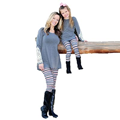 Usstore Mother and Daughter Print Stretchy Leggings Family Pants Trousers