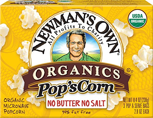 Newman's Own Organics Pop's Corn, Organic Microwave Popcorn, Unsalted, 3-Count, 8.4-Ounce Boxes (Pack of 12) (Plain Microwave Popcorn compare prices)