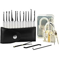 15-Piece Lock Pick Set,SGODDE Key Extractor Tool with Transparent Practice Padlock,for Beginners with Transparent Padlock for Unlocking Practice
