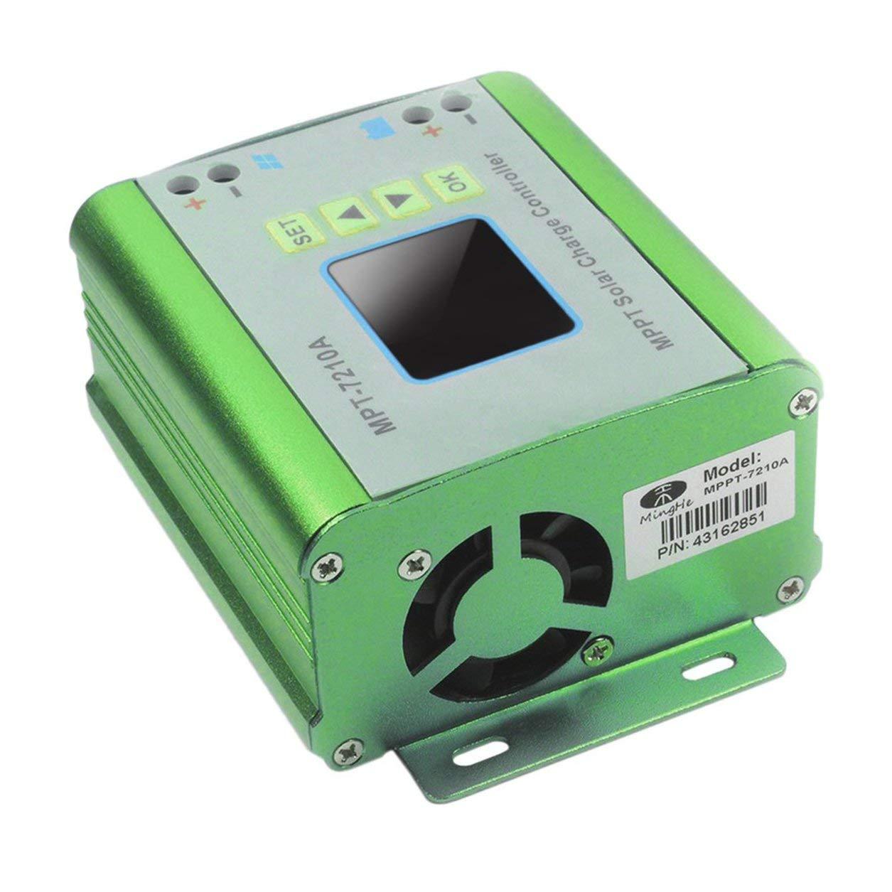 Contrôleur de charge solaire MPT-7210A Rétro-éclairage Régulateur de chargeur de batterie MPPT (Couleur: vert)