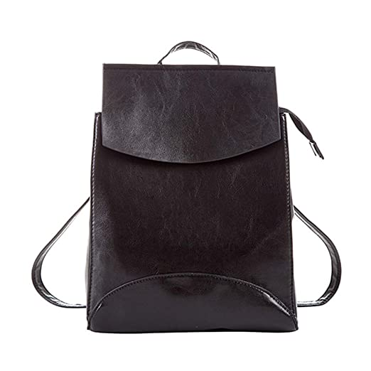 664b5993d6 Image Unavailable. Image not available for. Color  Women Oil Leather  Backpacks School Shoulder Bag Teenage Girls Backpack Ladies Travel Daypack